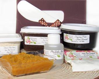Sugaring Hair Removal Set, Oatmeal Scrub, Pumpkin Brown Sugar Scrub - thicker hair, Body Sugaring, natural sugaring, natural sugar scrub