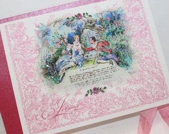 Marie Antoinette Card Set Je t'aime Rococo Versailles Garden Set of 6 Cards, Shimmering Envelopes and Seals