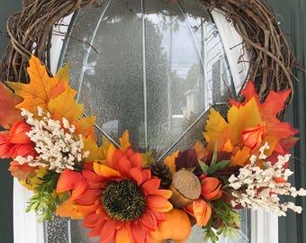 Sunflower Wreath, Fall Floral Wreath, Floral Wreath, Fall Wreath, Autumn Wreath, Farmhouse Wreath, Fall Door Wreath