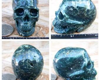 "2.02"" 3.3oz 92.9g Ocean Jasper Skull Realistic Crystal Healing Magical Magick Metaphysical Mystic Reiki Wicca Green Large 2 inch SK657"
