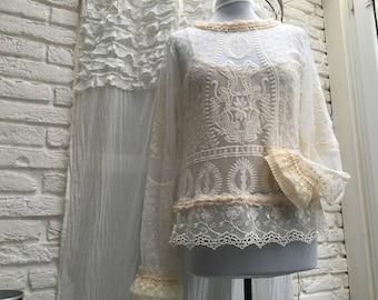 Shirt, shabby, vintage, bohemian, lace, romance