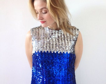 handmade vintage top with sequins, silver and  bright blue from the 80s