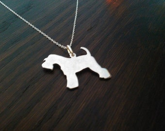 Miniature Schnauzer fully tail sterling silver Pendant