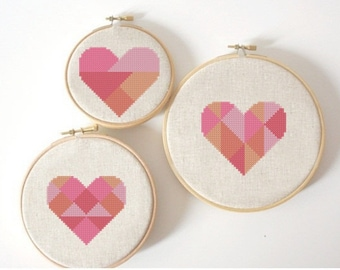 Geometric modern cross stitch heart patterns, hearts, set of 3, pattern PDF, needlepoint for Valentines Day instant download
