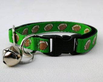 Green Sparkle Footballs Cat Collar