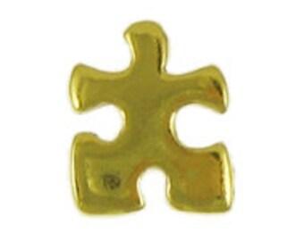 Gold Puzzle Piece Pin- CC372G- Puzzle Piece, Jigsaw Puzzle, Essential Piece, Teamwork Pins