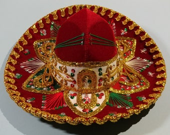 Authentic Belri Brand Mexico Mariachi Charro Cowboy Cowgirl Size Sombrero Hat Metallic Gold Sequin Velvet Embroidered Fiesta  Party