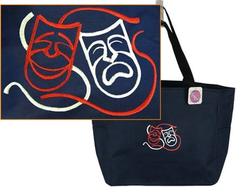 Theater Masks Comedy Drama Monogram Bag Red READY TO SHIP! Essential Zipper Tote Custom Embroidered