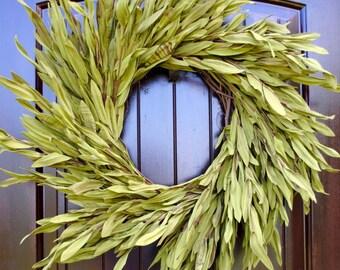 Spring wreath~olive leaf wreath~farmhouse wreath~rustic wreath~front door wreath~farmhouse decor