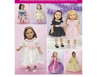 """Sewing Pattern for 18"""" Doll Wardrobe , Simplicity Pattern 1297, Doll Clothes Pattern, Doll Dresses, Party Dress for American Girl Doll"""