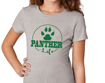 Girls'  Panther Life Shirt - School Spirit - Panthers - Heather Gray Girls T-Shirt