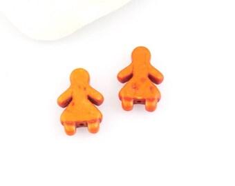 X 2 beads girl orange ceramic