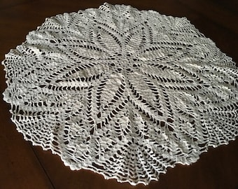 Ecru Crochet Doily/Large Round doily/ 25 inches ready for shipping/ reduced price