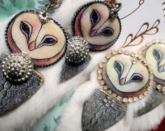 snowy owl clip earrings