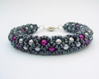 Beaded Bracelet Silver, Pink, Charcoal