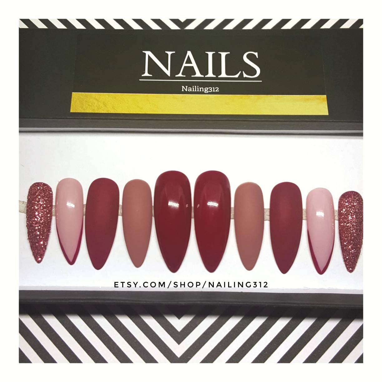 ASHLEY Maroon Press On Nails Glue On Nails Glossy Nails Fake