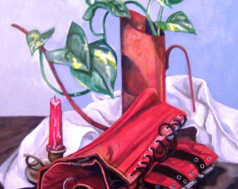 Oil Can and Corset, 16x20 acrylic still life