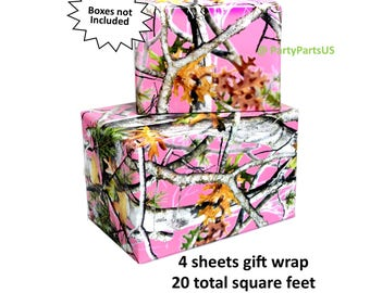 pink camo gift wrap, camouflage wrapping paper, rustic birthday ideas, hunting baby shower, its a doe, outdoors, woodland, bridal, Sweet 16