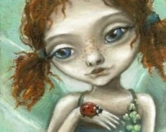 Irish pixie - beautiful little fairy - 5x7 PRINT of an original oil pastel painting by Tanya Bond