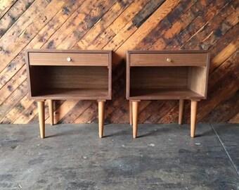 Custom Mid Century Style Walnut Brass Nightstands