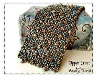 Beading Patterns, Instructions, Tutorials,  Pondo Stitch, African Circle Stitch, Extra Wide Cuff Instant Download Pattern UPPER CRUST
