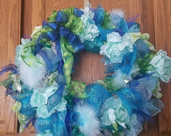 Baby blue poof wreath
