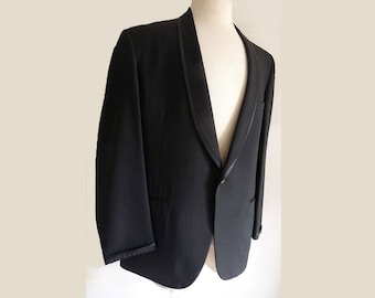 Vintage Tuxedo suit 1949 1968 Shawl collar Bond Clothes 42 Black Linen Silk Partially lined