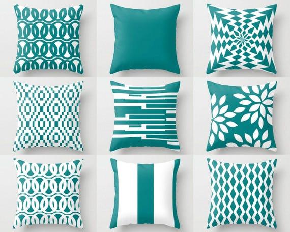 Home Decorators Outdoor Cushions: Outdoor Pillows Teal White Pillows Outdoor Home Decor