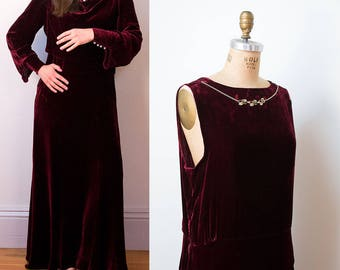 1930s Velvet Dress / 30s Burgundy Silk Velvet Gown