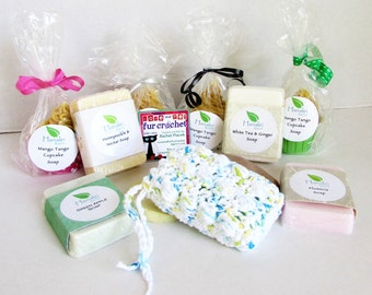 Crochet Soap Saver Pouch in White, Blue, Yellow and Green, Massaging Bath Scrubbie