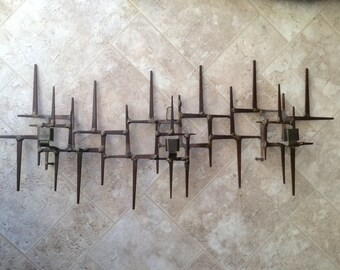 Vintage Mid Century Abstract Wall Sculpture Jere 1960s Candelabra