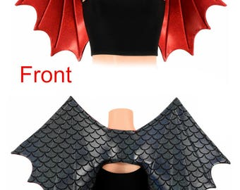 Two Tone Black Dragon Scale/Red Sparkly Jewel Metallic Wireless Dragon Wings Sparkly Wet Shiny (Wings Only) -  154853