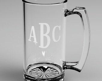 10 Personalized Groomsman Roman Monogram Beer Glass Mugs Custom Engraved