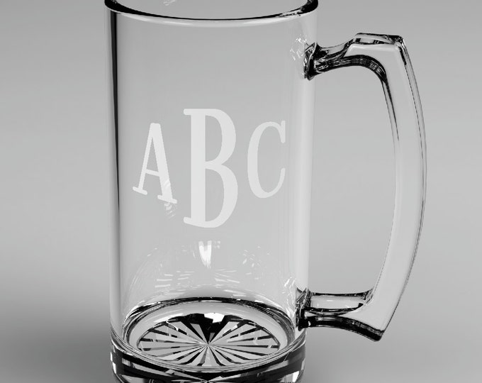10 Personalized Groomsman Roman Monogram Beer Glass Mugs Custom Engraved