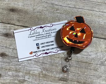 Holographic halloween Pumpkin badge holder, Feltie badge, Pumpkin badge reel, retractable ID Badge, Pumpkin badge clip,