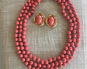 Vintage Philip Hulitar Orange Bead Necklace with Matching Earrings
