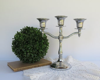 Antique Silver Candle Holder Candelabra - Signed MW NY Chromium Silver Candlestick Holder Art Deco 1920's