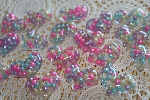 2 Pieces. Resin Flatback Cabochons 30mm Pastel Pearl Hearts