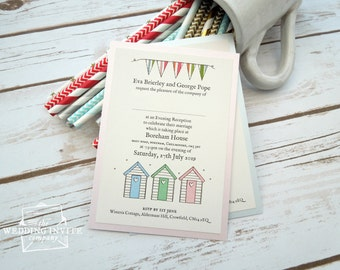 Beach Huts and Bunting Postcard Wedding/Evening Invitations