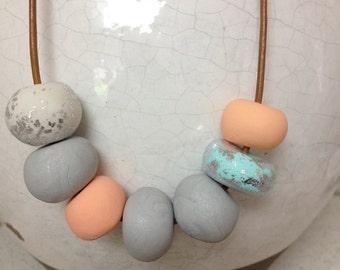 Aqua & Coral Clay Necklace