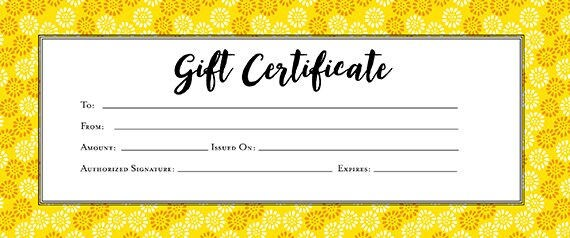 Yellow white gift certificate download flowers premade gift this is a digital file yadclub Image collections