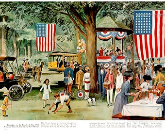 4th of July 1912, Independence Day Celebration Picnic INSTANT Download POSTER Print of 1950s Illustration