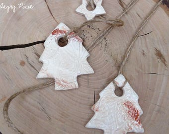 Christmas decorations in the shape of trees and stars, set of 6 pieces