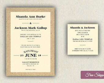 Rustic Bold Type Wedding Invitation Set Printed