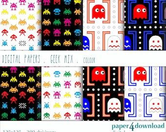 "Geek Mix in colour, Digital Paper, 12'x12"", 300 dpi JPG, Printable, Instant Download"