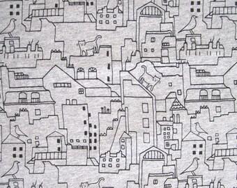 "JERSEY cotton white ""SILHOUETTE"" pattern."