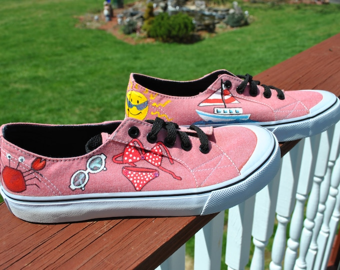 For Sale Beach or Summer Hand Painted Sneakers Air Walks size 8 READY TO SHIP