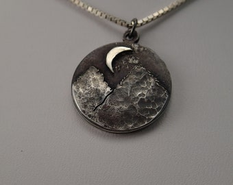 Sterling Silver Mountain Pendant Night Hike dark patina Moon Hikers Camper Naturelover backpacker necklace