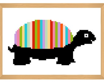 turtle cross stitch pattern, funny, cross stitch pattern, modern cross stitch, colourful pattern, easy cross stitch, needlecraft, nature