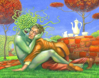 Original art: 'Medusa & Oedipus' - painting in gouache by Nancy Farmer (unframed)